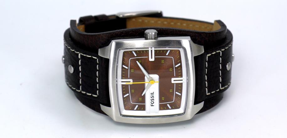 Fossil Herren Armbanduhr Analog Leder Braun Trend Jr9990